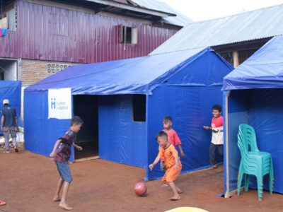 Photo : Children playing in the smiley yard in Majene, West Sulawesi