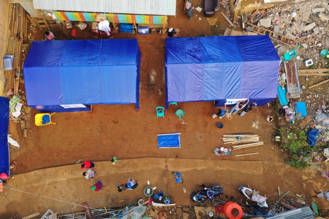 Foto : Kondisi rumah senyum yang dibangun di sekitar pengungsian.